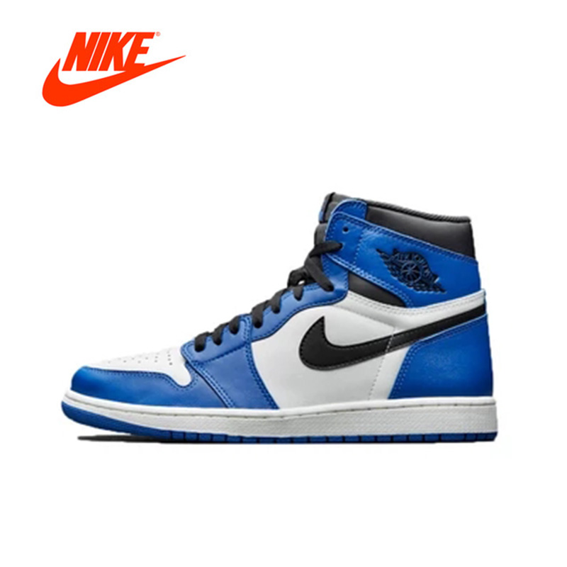 Original New Arrival Authentic Nike AIR JORDAN 1 Game Royal Men's Basketball Shoes Sport Outdoor Sneakers 555088-403