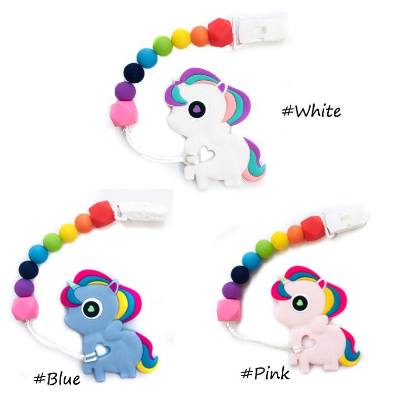 unicornio cadeias chupeta do bebe mordedor de silicone feitas a mao engracado colorido do granulo brinquedo