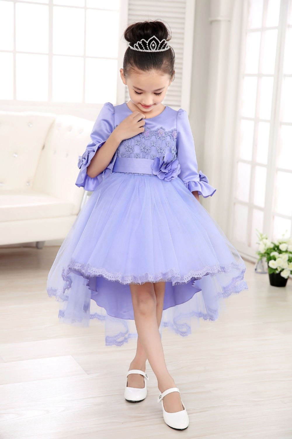 92b7f85c5 2019 Latest Design High Quality Girls Prom Dress Kids Party Wear Western  Dress With lace Tail For Wedding and Party-in Dresses from Mother & Kids on  ...