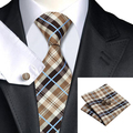 Men Tie Plaid Brown Blue Neck Tie Hanky Cufflinks Set Silk Jacquard Ties For Men Formal Business Wedding Party 8.5CM Width C-382