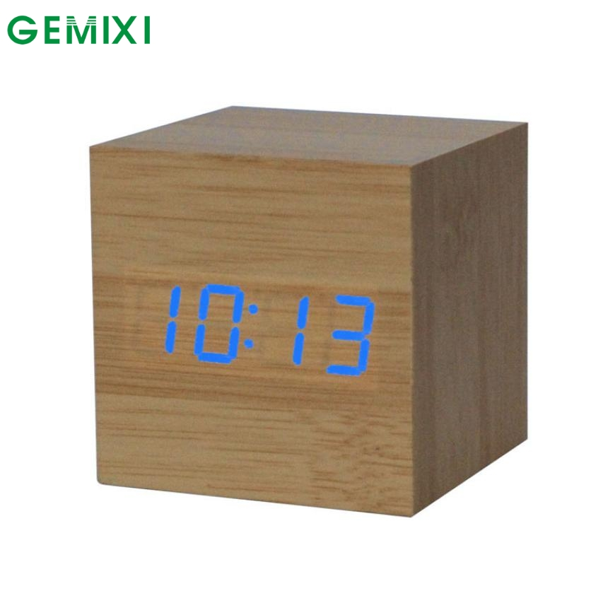 Mosunx Business 1PC Digital LED Bamboo Wooden Wood Desk Alarm Brown Clock Voice Control C