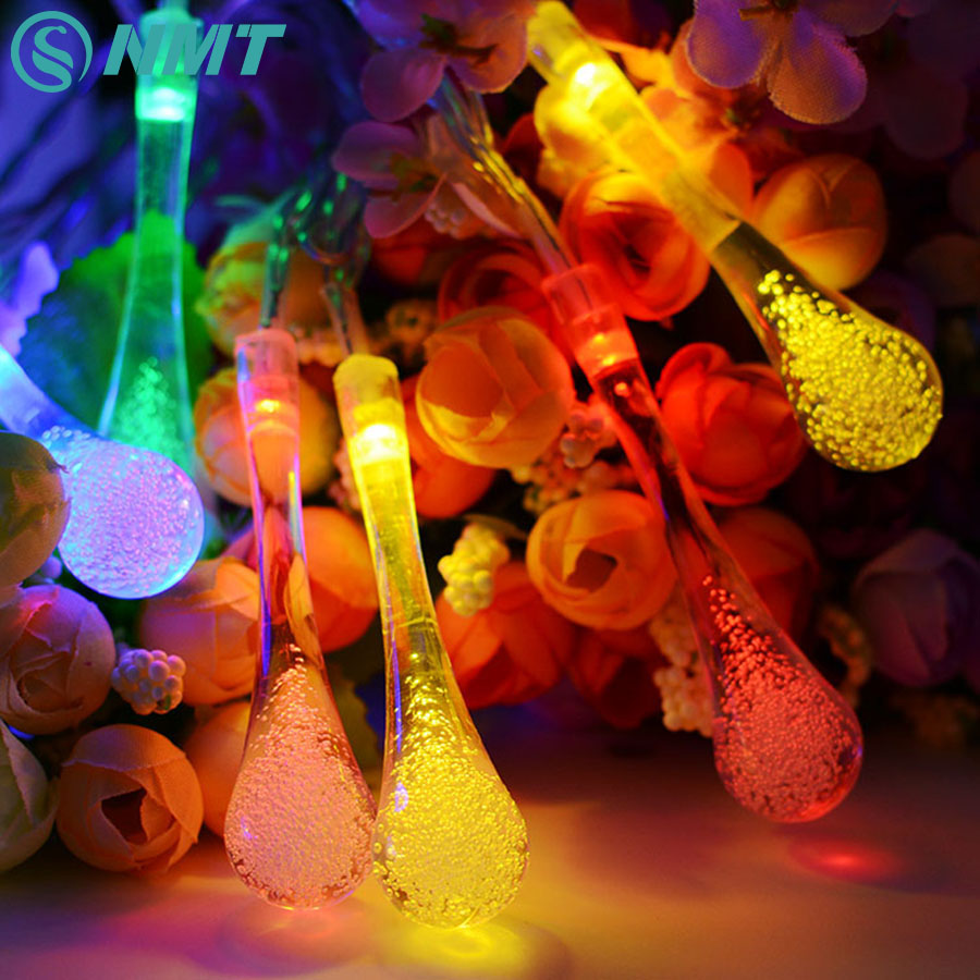 6M 30 LED Water Drop Solar String Lights Outdoor Lighting Solar Lamps Fairy Christmas Decoration Light For Garland Party Holiday