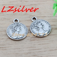 MIC 15pcs Antique silver Alloy Australian Elizabeth Coin Charms Pendant DIY Jewelry 16x19.5mm (Antique ) A-456
