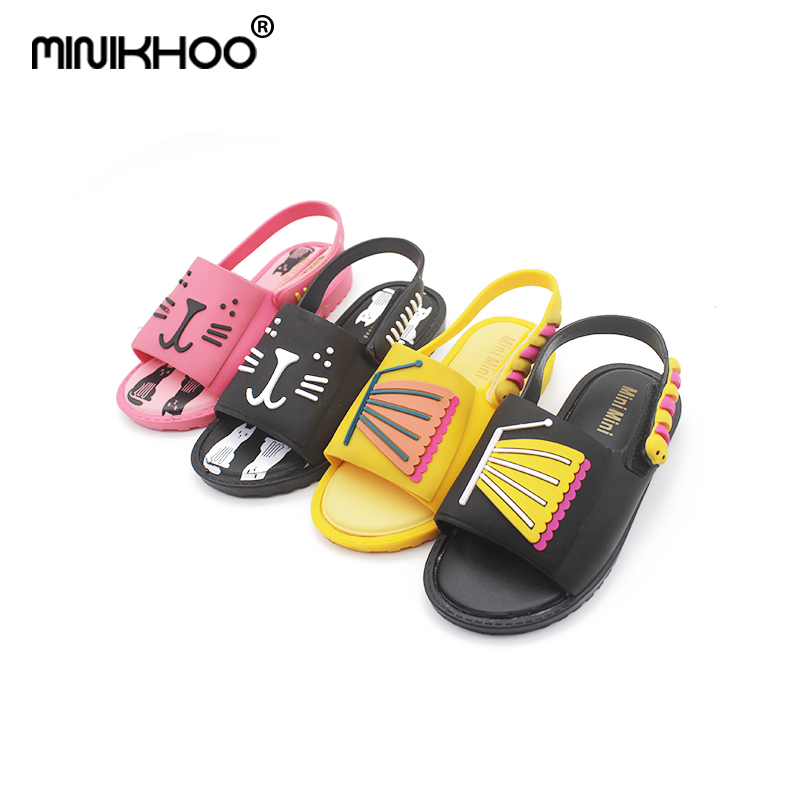 Mini Melissa Children Jelly Sandals For Girls Shoes 2018 New Cats Butterfly Children Sandals Soft Bottom Boys Girls Beach Shoes