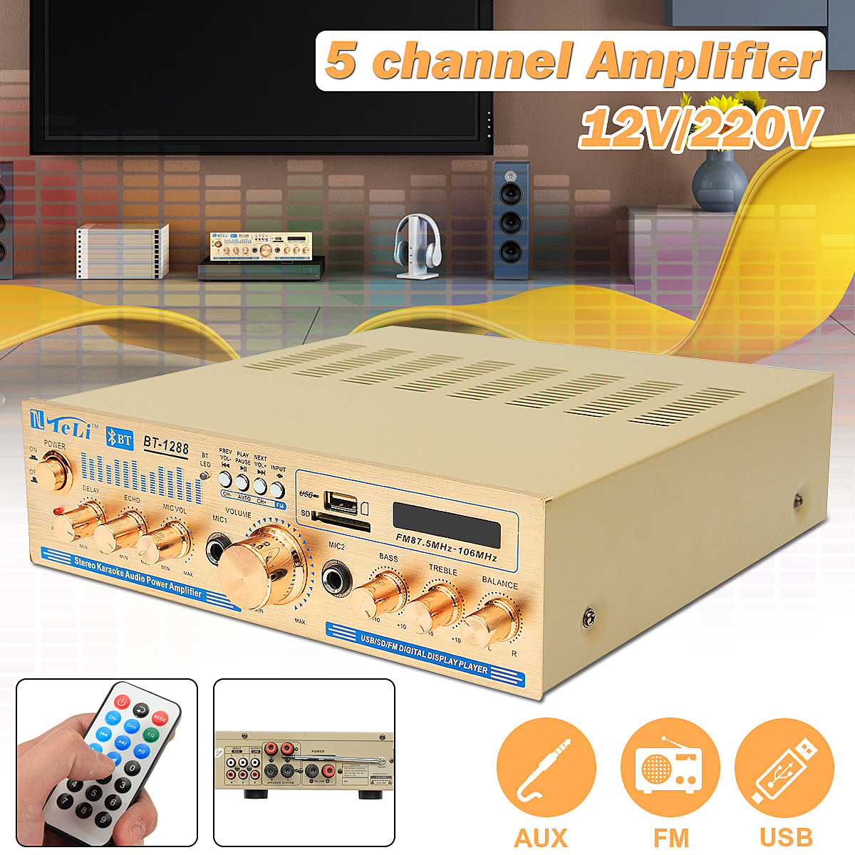 2*100w 12V/220V 2 Channel Equalizer Bluetooth Home Stereo Power Amplifier USB Car Amplifier Home Theater Amplifiers Audio 3800w 4 channel equalizer home stereo power amplifier usb car amplifier home theater amplifiers audio
