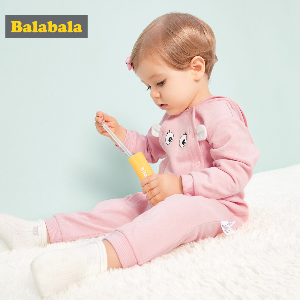 Balabala Babys Soft Cotton Printed Jumpsuit Infant Newborn Baby Boys Baby Girls Jumpsuit One-Piece Romper Ribbed Cuff And Hem