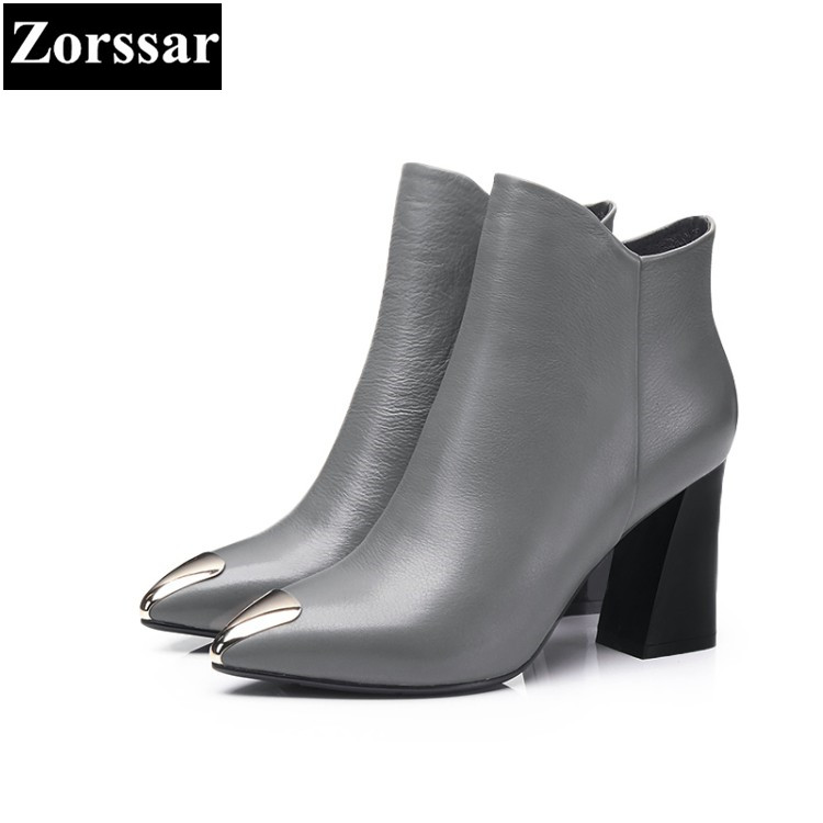 {Zorssar} 2018 Large size Women shoes Thick heel pointed Toe High heels ankle Riding boots fashion leather womens boots winter zorssar brands 2018 new arrival fashion women shoes thick heel zipper ankle chelsea boots square toe high heels womens boots