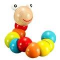 Милые насекомые головоломки деревянные поворот гусеницы игрушки для новорожденных детей образования пальцы гибкие обучение червь игрушки