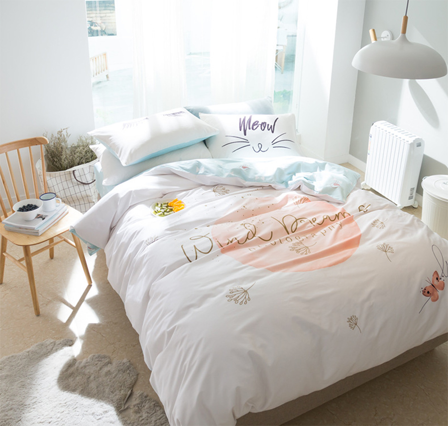 Unusual simple bedding set adult teen kid cotton full for Minimalist bed sheets