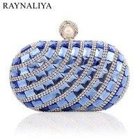 Nowy 2017 Wysokiej Jakości Niebieski Royal Kryształ Diament Torebka Sprzęgła Dnia Wieczorem Sprzęgła Lady Prom Kolacja Weeding Smyxst-f0118