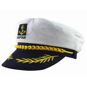 NEW Vintage White Adjustable Skipper Sailors Navy Captain Boating Military Hat Cap Adult Party Fancy Dress Unisex Hat