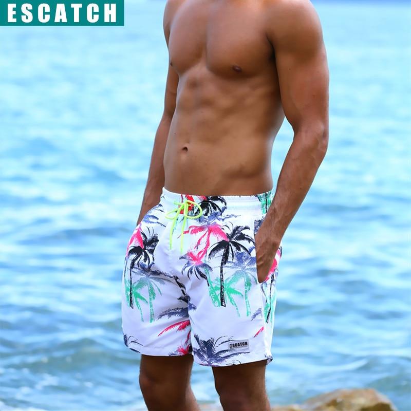 Summer Board Shorts Men Coconut Tree Hawaii Beach Man Shorts Swimming Bermuda Quick Dry Casual Cotton Mens Shorts