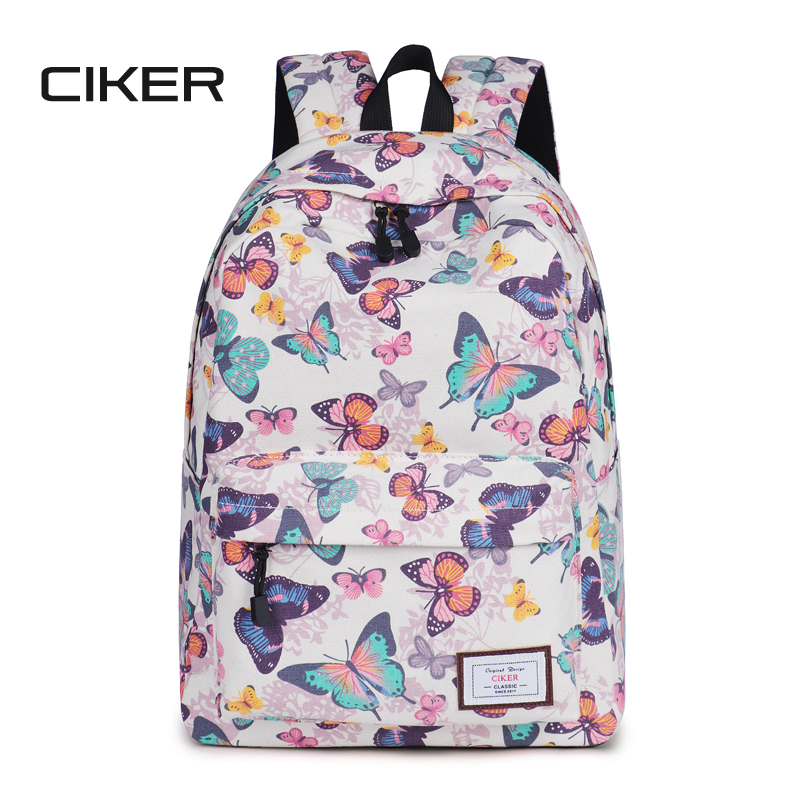 CIKER butterfly printing backpacks for teenage girls fashion student shoulder school bags women canvas backpack mochila rucksack miwind women canvas backpack fashion 4 pieces set printing school backpacks for teenage girls travel shoulder bag rucksack cb249