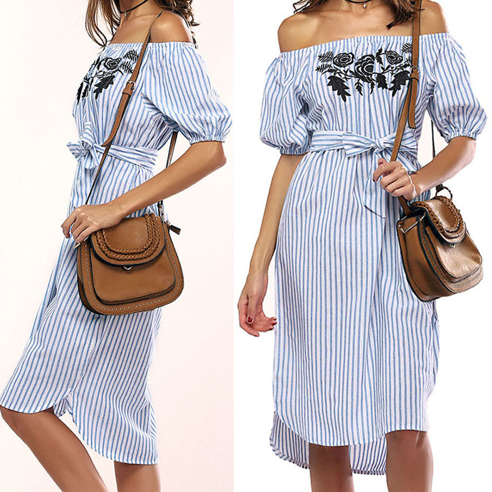 Women Dress Summer Hot Sale New Brand Off shoulder Dress Striped Short Sleeve Slash Neck Casual Fashion Ladies Dress 2018 F#M29