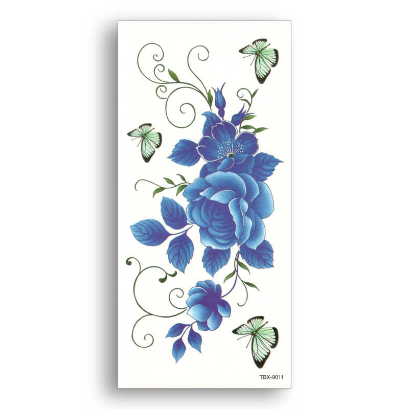 waterproof Fake temporary Arm breast tattoo Water transfer Blue flower butterfly Sticker Girl Women Sexy Beauty Body Art TBX9011