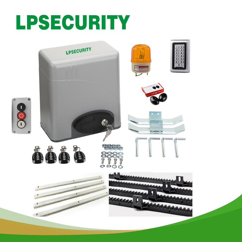 LPSECURITY 230V/120V automatic electric gate opener motor 600kg 1400lbs gate with 1 photocell RFID keypad alarm lamp button