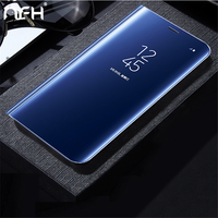NFH For Samsung Galaxy A3 A5 A7 2017 Case Luxury Flip Stand Clear View Smart Mirror
