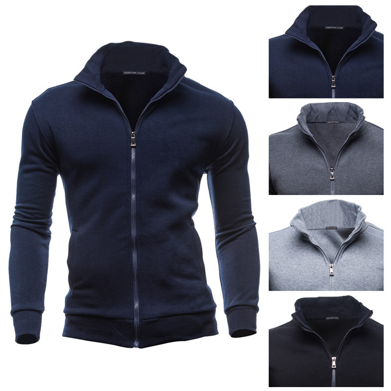 Men's Jacket Length Sleeve Stand-up Collar Hoodies Sweatshirts men Mens Zipper Outwear