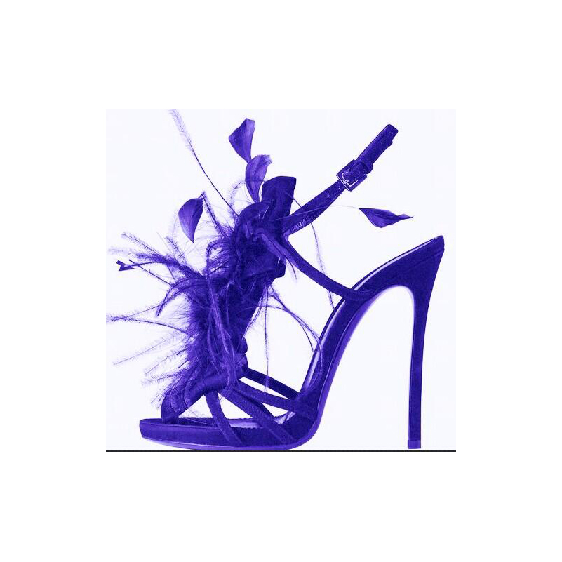 Zapatos mujer high heel sandals women shoes with open toe buckle strap slingbacks faux fur sandals women runway purple shoes