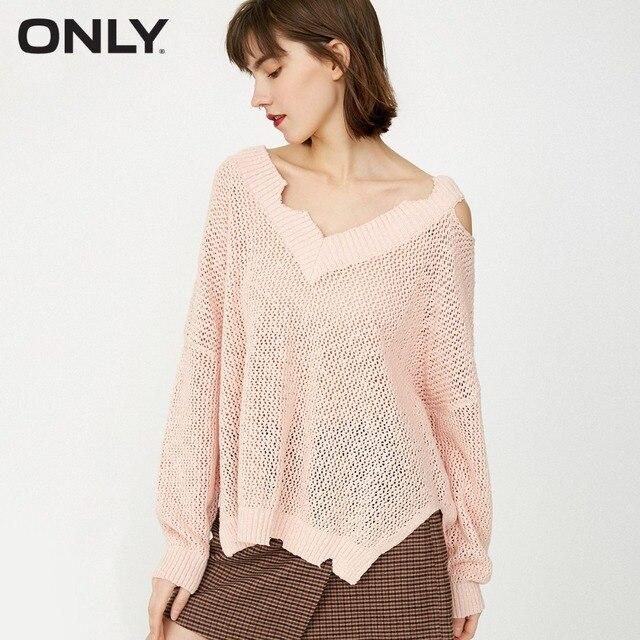 CHỈ CÓ nữ 100% Cotton Vòng cổ CHỮ V Rách Thấy-thông qua Gợi Cảm Áo Len Dệt Kim Chui Đầu | 118124544