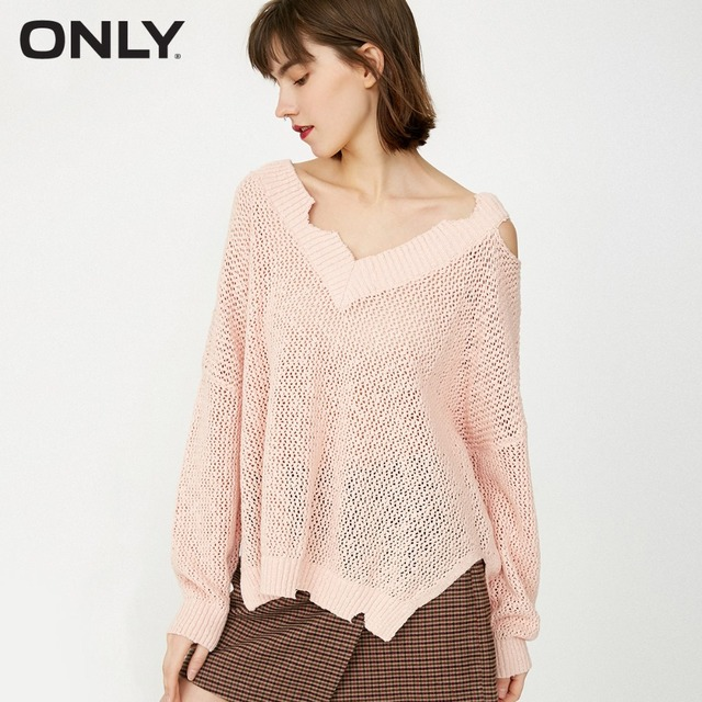 ONLY  Women's 100% Cotton V-neckline Ripped See-through Sexy Knitted Sweater Pullover  118124544