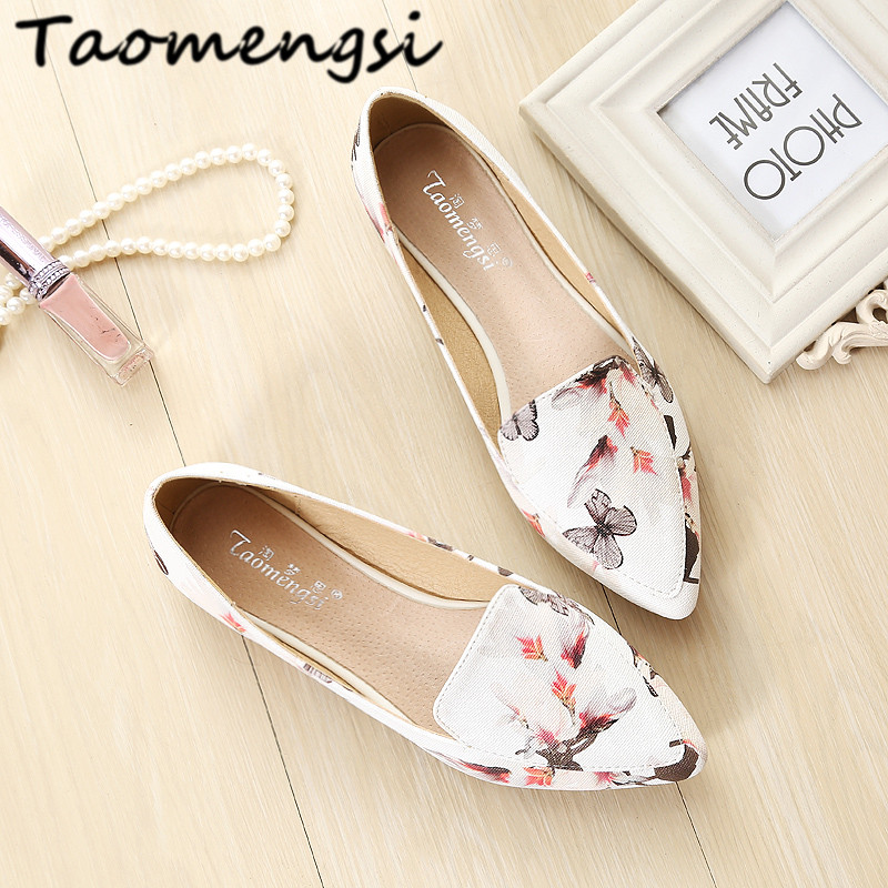 Taomengsi 2017 Women's flats Ladies shoes leather Fashion pointed Toe flowers sweet Comfortable/33-43 Women casual shoes Woman flock women flats 2017 pointed toe ladies single shoes fashion shallow casual shoes plus size 40 43 small yards 33 sapatos