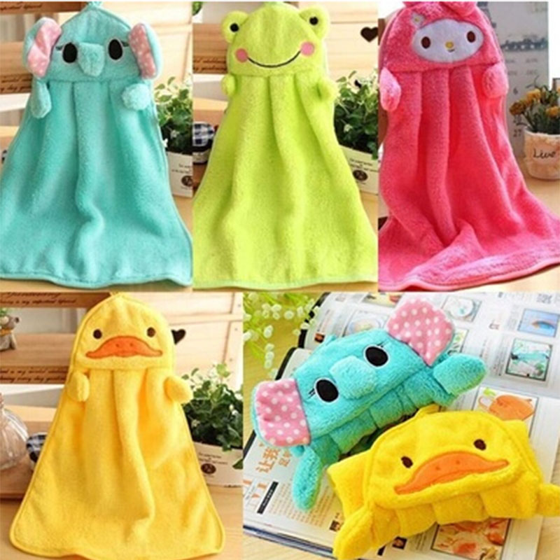 Baby Nursery Hand Towel Cartoon Animal Wipe Hanging Bathing Towel Kitchen Bath Hanging Wipe Soft Towel Home Textile