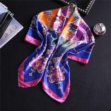 Designer 2019 Satin Scarf Women Square Silk Hijab Print Lady Neck Scarfs Bandana Female Shawls and Wraps Head Scarves Band