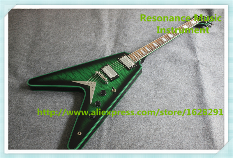 New Arrival Chinese Green Quilted Finish Flying V Electric Guitar Green Mahogany Body Binding For Sale