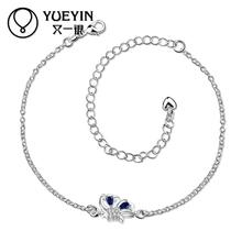 Silver Plated Woman Anklet jewelry Love Silver-Plated Anklet Bracelets Bangles Ankle Full Rhinestone For Woman Wedding Favourite