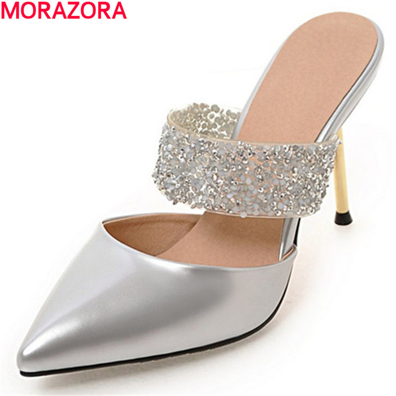 MORAZORA summer glitter pointed toe Large size 34-47 pu+patent leather women sandals high heels shoes fashion party shoes