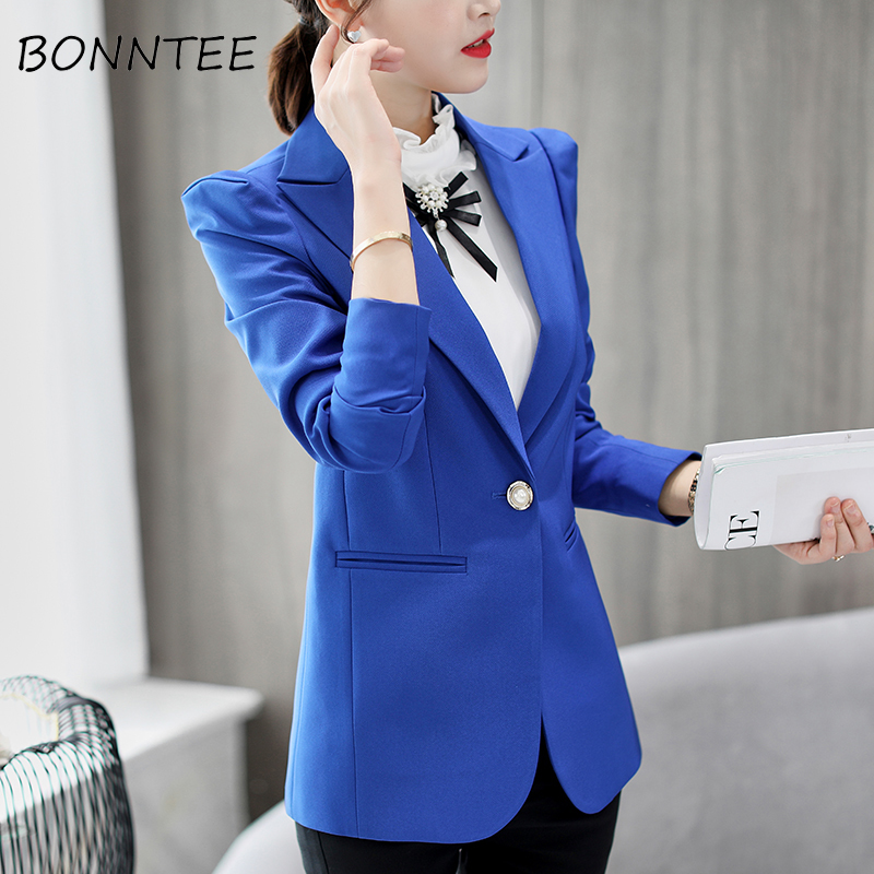 Blazers Slim Daily Casual Long Sleeve Single Button Women Solid Elegant Fashion Korean Style Pockets New Office Ladies Womens