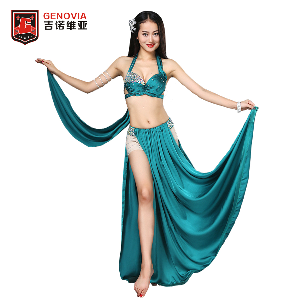 Professional Belly Dance Costume Set Performance Diamond 2PCS Bra Skirt  Women Egyptian Bellydance Costume Set