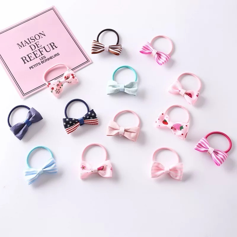 10Pcs Sweet Bow Hair Elastic Bands Baby Girls Hair Gum Ponytail Holders Hair Accessories Flower Dot Stripe Print Rubber Ropes