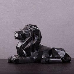 Геометрическая скульптура оригами льва из смолы, африканская статуя хищника для дикой природы/фэн-шуй, Лев, ремесла, украшения для дома R60