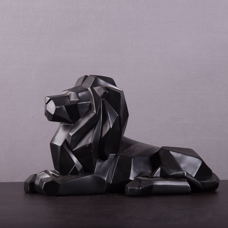Geometry Origami Lion Sculpture Resin African Wildlife Predator Statue/ Feng Shui Lion Crafts Home Decorations R60