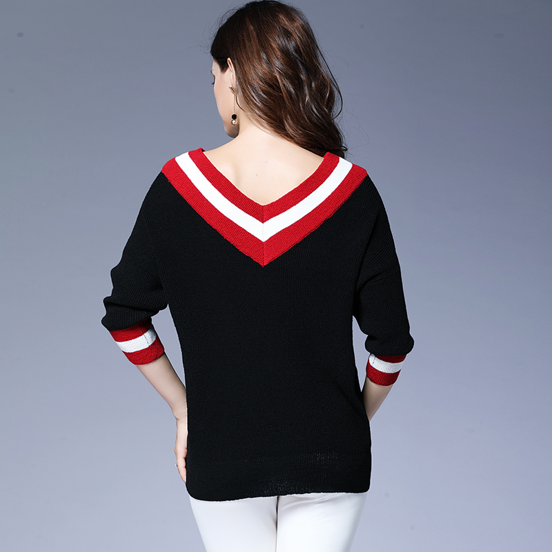 Fashionnable red white striped black loose sweater 4