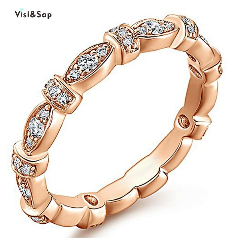 Interlocking Wedding Rings.Visisap Elegant Rose Gold Color Interlocking Rings For Women Engagement Wedding Ring Anniversary Gifts Jewelry Factory B2248