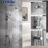 LEDEME New Phòng Tắm Vòi Sen Cổ Điển Phòng Tắm Vòi Sen Vòi Bath Vòi Mixer Tap Với Tay Vòi Sen Đứng Đầu Bộ Treo Tường L2400