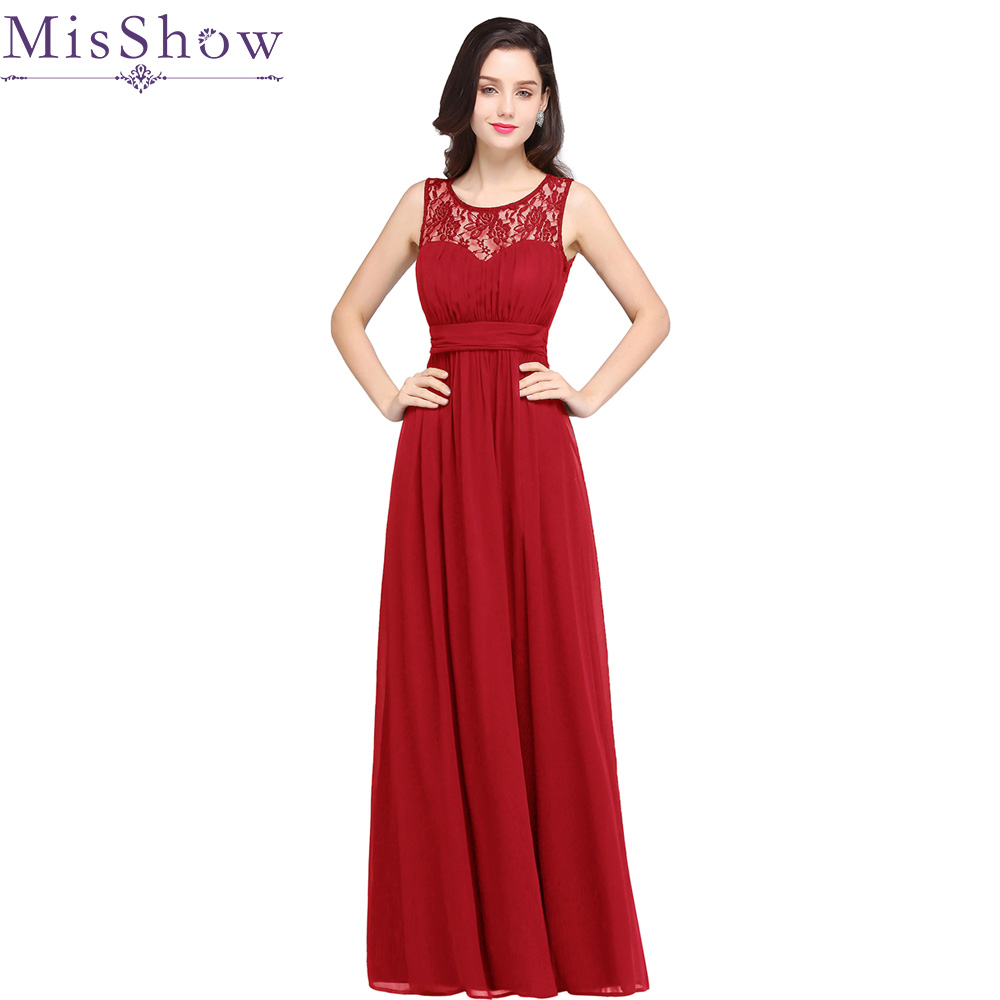 2019 Red Bridesmaid Dresses Long Chiffon Cheap Floor Length Wedding Bridesmaid Gown Maxi Formal Party Gowns Vestido Dresses