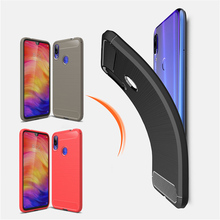 Carbon Fiber Brushed Case For Xiaomi Redmi Note 7 Texture Soft TPU Silicone Shockproof 6 Pro Cover