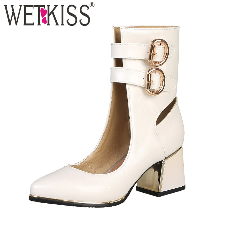 WETKISS Plus Size 32-48 Ankle Boots Women Pointed Toe Zip Footwear Thick High Heels Boots Female Pu Gladiator Shoes Woman SpringWETKISS Plus Size 32-48 Ankle Boots Women Pointed Toe Zip Footwear Thick High Heels Boots Female Pu Gladiator Shoes Woman Spring