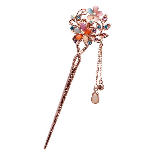 Various Fashion Women Elegant Bobby Pin Colorful Rhinestone Hairpin Hair Stick