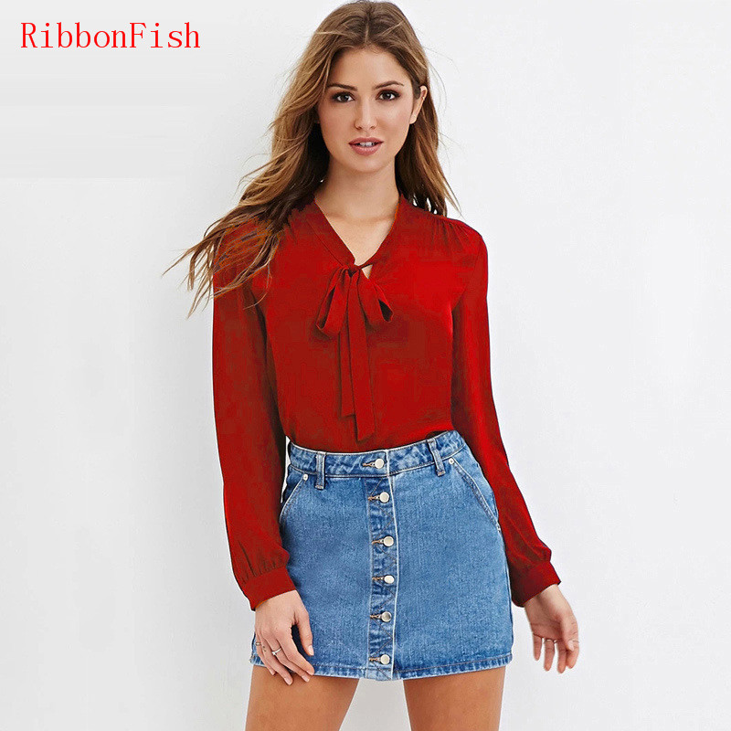 2017 Women Summer Chiffon   Blouses     Shirts   Lady Girls Casual Long Sleeve Bow Tie Decor V-Neck Long Blusas Plus Size S-6XL DF1048