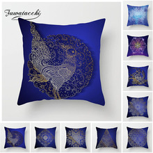 Fuwatacchi Mandala Painted Cushion Cover Blue Geometric Line Pillow Cover For Home Chair Sofa Decorative Flower Pillow Case цена и фото