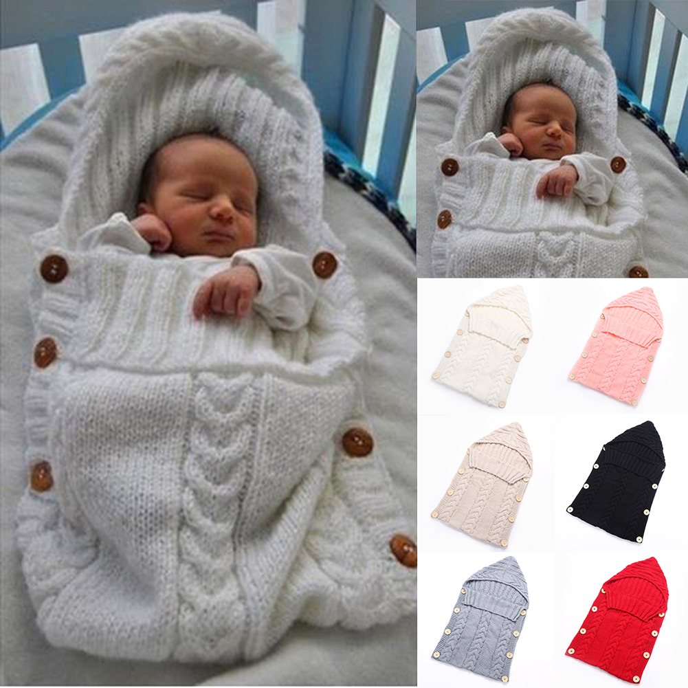Baby Infant Swaddle Wrap Warm Wool Blends Crochet Knitted Hoodie Swaddling Wrap Blanket Sleeping Bag polymer blends