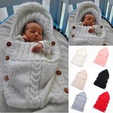 Детская Пеленка, теплая шерстяная вязаная Толстовка вязаный крючком Пеленка, одеяло, спальный мешок
