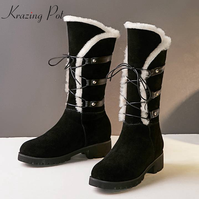 Krazing Pot wool sheep fur cow suede round toe rivets thick heels snow boots keep warm luxury lace up Winter mid-calf boots L93 beango fashions snow boots women s winter fur rubber genuine leather lace up flats round toe mid calf new comfort warm boots