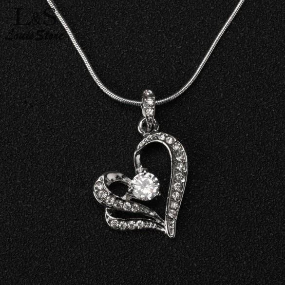 b368ff5fee51 Moda forma de corazón colgante 2015 del encanto de plata plateado collar  con cadena larga para la mujer regalo de las muchachas 1 unids bolsa envío  gratis ...