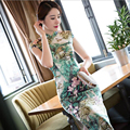 Chinese Women's Satin Cheongsam Long Floral Qipao Velvet Silk Dress S-3XXL China Oriental Dresses Traditional Chinese Cheongsams